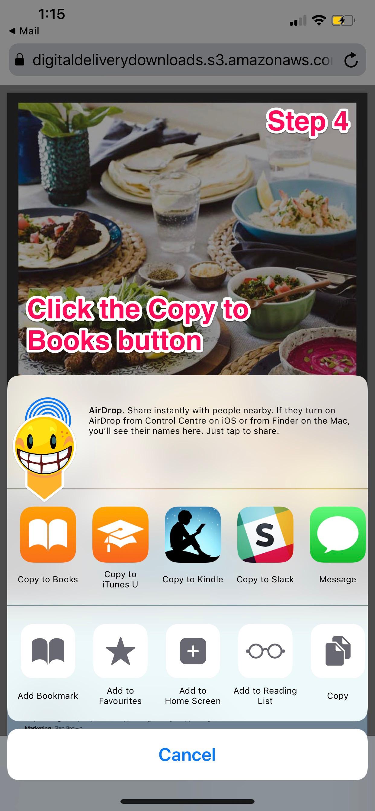 Save e-book to Apple Books
