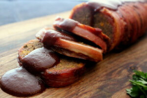 skinnymixer's Bacon Wrapped Meatloaf with Smokey BBQ Sauce