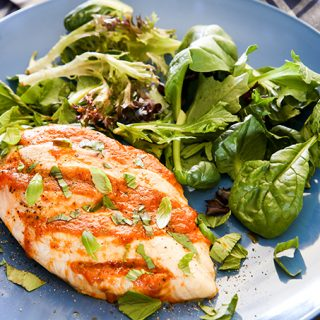 skinnymixer's Hasselback Pizza Chicken