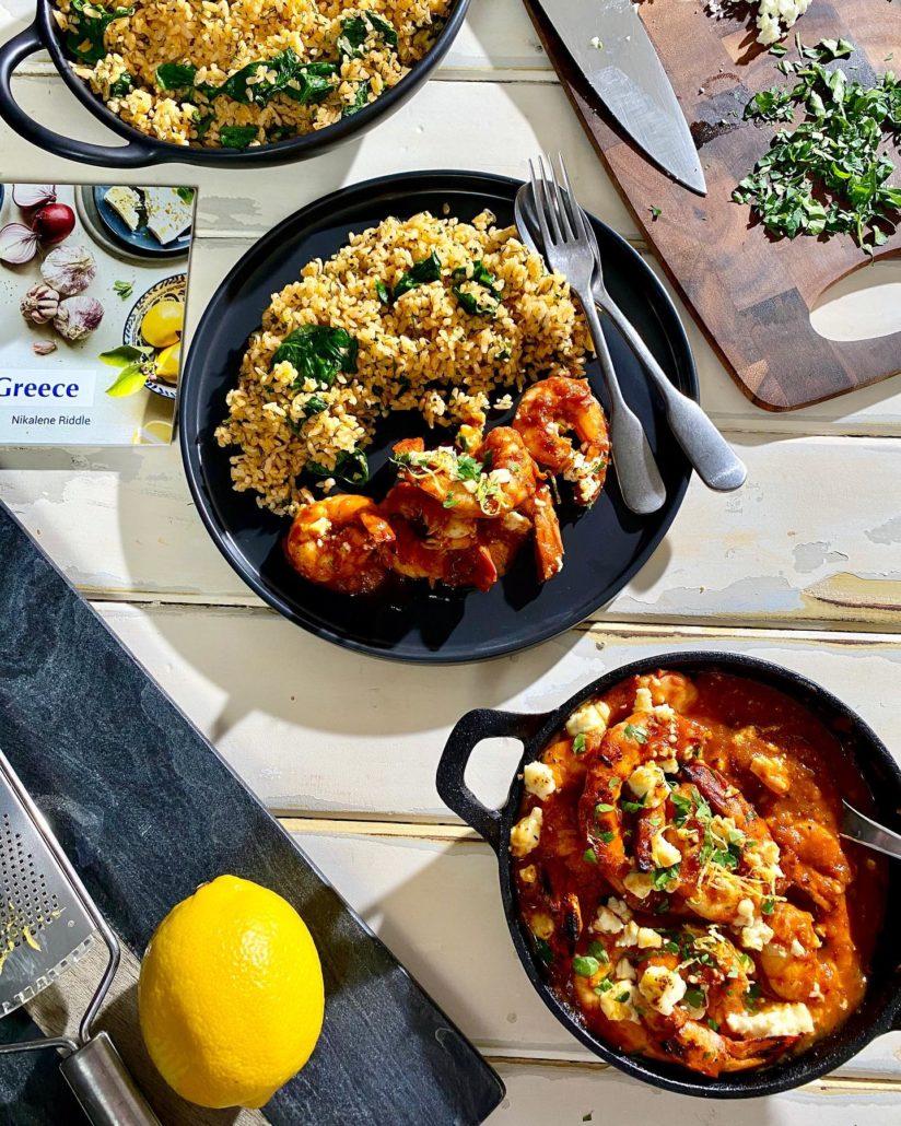 Saganaki Prawns & Spinach Rice
